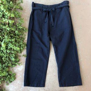 The Great. Convertible Navy Paper Bag Crop Pants